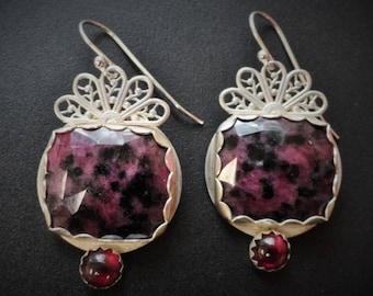 Sterling Ruby Earrings / Ruby in Zoisite / Garnet Earrings / Artisan Earrings / Filigree Earrings / Statement Earring / OOAK Earrings