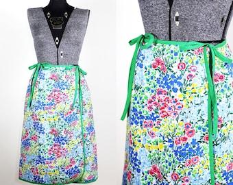 Vintage 1970s Spring Meadows Wrap Skirt by Lanz / medium large