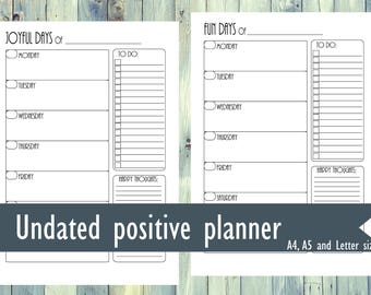 Printable positive planner. Undated weekly planner. Positive thoughts planner. A4, Letter, A5 size planner. Printable weekly planner.