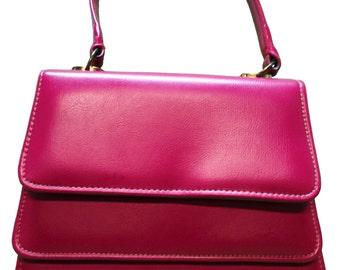Raspberry Pink Vintage 60s Leather Purse Handbag