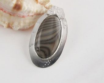 Large Oval Pendant: Striped Polish Flint Set on Sterling, All Handcrafted and Read to Ship Great Gift Idea
