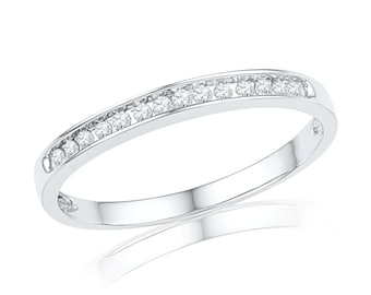 Diamond Wedding Band With 0.13 CT. T.W. Diamond In 10k White Gold, Also Available in Sterling Silver