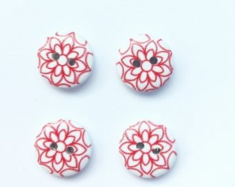 4 Red Flower Button - Red White Flower - 15 mm Button - Small Button - Floral Button - Scrapbook Buttons, Notions, Embellishment, Craft