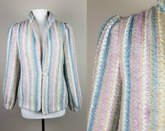 Womens large vintage blazer jacket coat off white pink 12 large medium