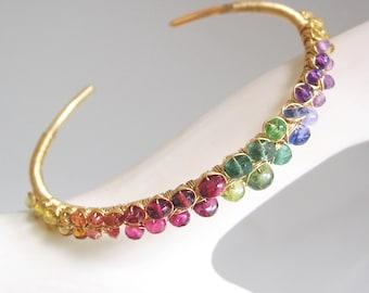 Rainbow Gemstone 14k Gold Filled Cuff, Multi Gem Colorful Bracelet, Stackable, Peridot, Tanzanite, Tourmaline, Sapphire, Artisan Designed
