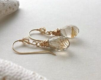 Golden Quartz Earrings, Gold Rutilated Quartz, Gold Quartz Dangle, Citrine Dangle Earrings