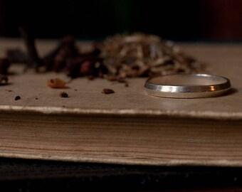 Alternative wedding ring, geometric band, triangular ring, stacking ring, sterling silver and 14k gold, slim wedding band, minimal ring.