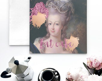 Marie Antoinette Note Card, Marie Antoinette party invitations, Eat Cake card, Marie Antoinette birthday cards