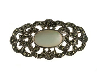 SALE--Sterling Marcasite and Mother of Pearl Deco Brooch