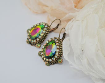 Green rainbow earrings vintage rainbow earrings big earrings vintage green earrings victorian rainbow earrings bright earring christmas gift