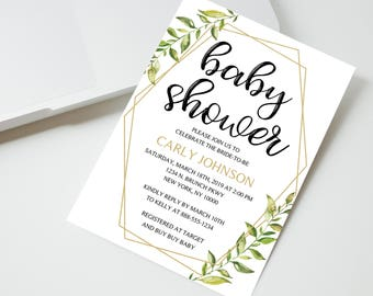 INSTANT DOWNLOAD - Greenery baby shower Invitation, Leaf Invitation, geometric, gold greenery, baby shower invitation, OLDP300,