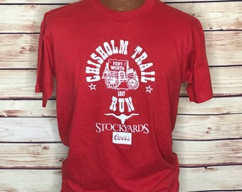 Vintage 80's red Coors beer stockyard tourist thin cotton tshirt