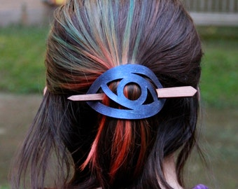 Abstract Eye Leather Barrette