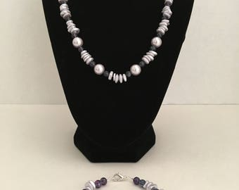 Lavender/Purple Pearlized Necklace & Bracelet