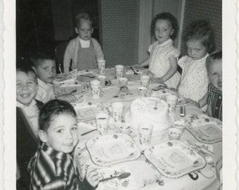 vintage photo 1958 Vernacular Snapshot Twins Turn Two Birthday Girls One Unhappy