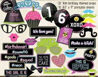 Photo Booth Props, HAPPY 16TH BIRTHDAY, sweet 16, glow, black light, neon, printable sheets, instant download, hot pink, lime, neon green