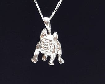 "Boston Terrier Dog Pendant Charm 925 Sterling Silver with Sterling Silver 18"" chain - Made In USA-Authentic Great Fathers day gift!"