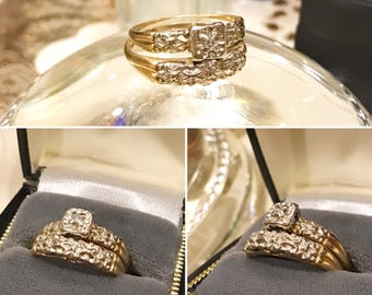Vintage 14k yellow & white gold diamond engagement, wedding bridal set   14K two tone Jewels of Joy diamond wedding bridal set   Sz 7 SALE