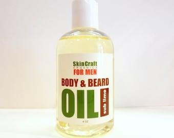 Mens Natural Body Oil / Conditioning Beard Oil - Sub Lime Citrus Scent - Body & Beard Oil in One - Vegan 4 oz