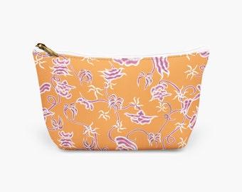 Orange Chinoiserie Flower Makeup Bag, Wedding Shower Cosmetic Bag