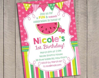 Watermelon birthday / Watermelon invitation / Watermelon birthday invitation / Watermelon invites / Watermelon birthday party