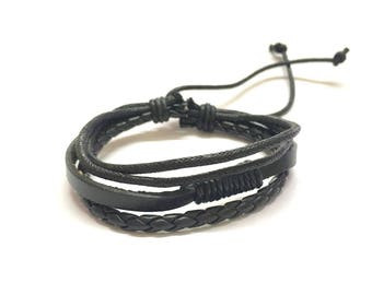 Genuine Leather Braided Multi-layer Bracelet