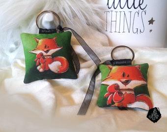 1 x fabric key fob / handmade jewelry bag Illustration baby Fox