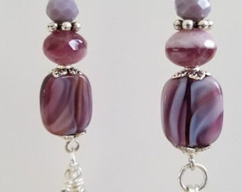 Purple Earrings, Lavender Earrings, Czech Glass Earrings, Amethyst Earrings