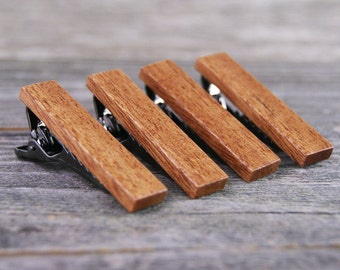 Groomsmen tie clip gift set crafted from Mahogany - Personalized for Free!