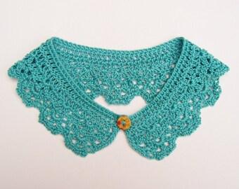 Jade Green Collar Cotton Crochet Women Accessory