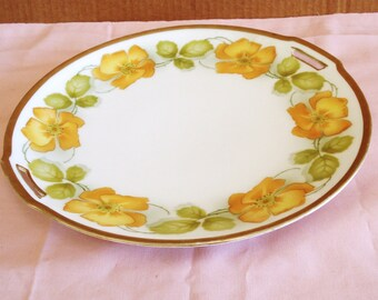 Vintage R And S Germany Porcelain Floral Charger Serving Plate Cake Plate.