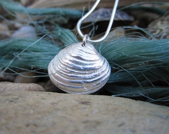 Solid Silver Cornish Shell Necklace