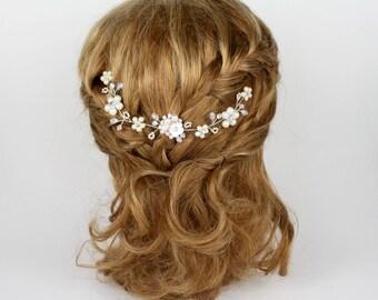 Bridal Vintage Pearls and Crystals Headpiece, Bridal Hair Accessory, Bridal Hairpiece, Bridal Headband, Wedding Hairpiece, Bridal Hair Pin