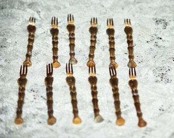 Vintage  12 Piece Set  Appetizer Forks, Hors D'oeuvre Forks, Gold Plated Bamboo Forks, Fondue Forks,  1980S