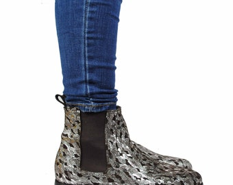 Chelsea Boots, Glitter boot, Leather Boot, Pixie boots, Handcrated boots.