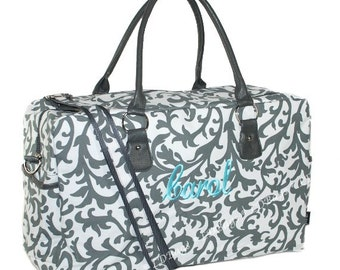 Monogrammed Weekender Bag | Overnight Travel Duffle Bag | Personalized Bridesmaid Gift | Girls Duffel Bag | Grey Damask Weekender Bag