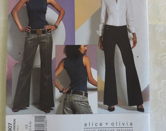 Vogue V2907 Size 4-8 Alice + Olivia Misses Low Rise Flared Leg Pants Sewing Pattern  / UNCUT Factory Folded