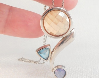Vintage Modernist Sterling Abstract Drop Stones Necklace Abstract Faceted Glass Stones Necklace Sterling Silver Modernist Necklace