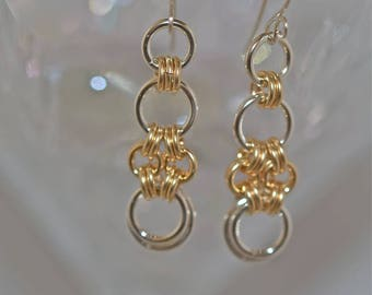 Earrings, Gold, Silver