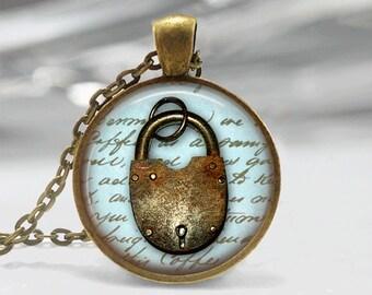 Glass Tile Necklace Vintage Lock Necklace Glass Tile Jewelry Lock Necklace Lock Jewelry Brass Jewelry Brass Necklace Black Necklace