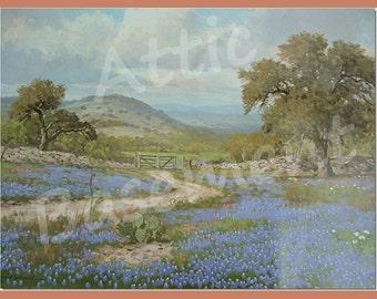 Original Porfirio Salinas-Texas Hill Country Bluebonnets, Cacti Landscape-Lithograph Print epsteam
