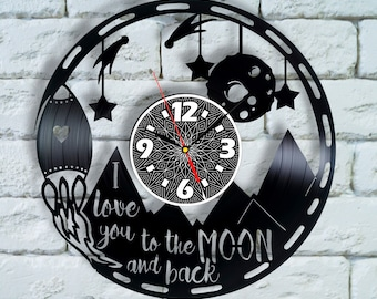 I love you to the Moon and back sign vinyl wall Clock, I love you to the moon and back wall decor art nursery decor