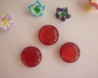 Round buttons red transparent effect, sold in sets of 3.