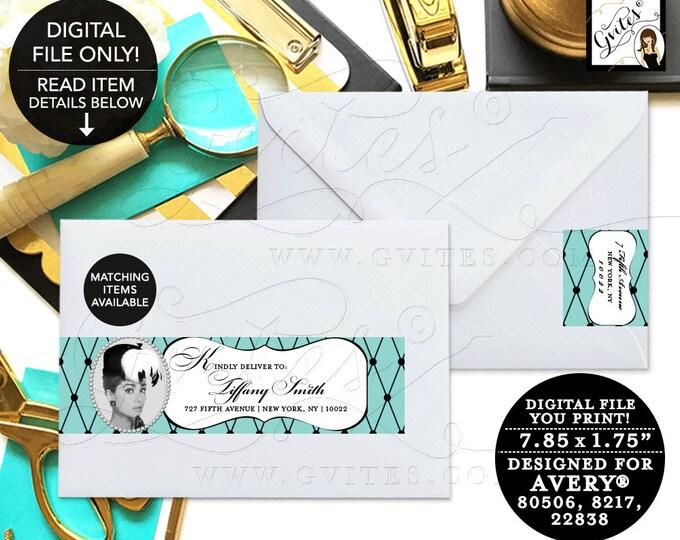 Breakfast at Audrey Hepburn Printable Guest & Return address labels. I EDIT YOU PRINT! Avery® 80506, 8217, 22838. {5 Per/Sheet}