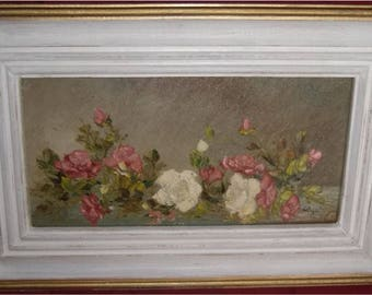Painting Roses Hawaii Artist Shabby Chippy Frame Cottage Chic Flowers Pink White