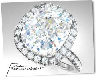 4.25ct Gold Engagement Ring - Art Deco Ring Vintage Wedding Ring alternative moissanite Ring - moissanite Solitaire Ring - Cushion Cut Ring
