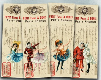 75% OFF SALE Carnival - Digital bookmark B017 collage sheet printable download image size digital image Circus collage vintage hang tags
