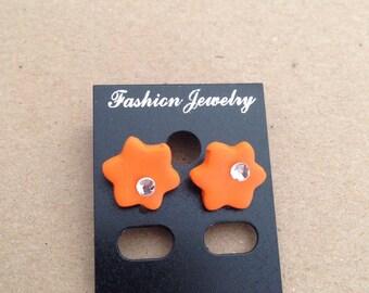 Polymer clay orange flower earrings