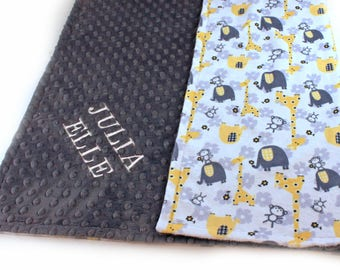 Elephant Minky Baby Blanket Boy, Yellow Gray Personalized Blanket, Animal Baby Blanket, Receiving Blanket Name Baby Blanket Baby shower gift