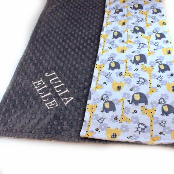 Elephant Minky Baby Blanket Boy, Yellow Gray Personalized Blanket, Animal Baby Blanket, Receiving Blanket Name Baby Blanket Baby shower gift
